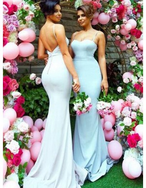Adorable Blue Mermaid Spaghetti Straps Sweep Train Backless Bridesmaid Dress