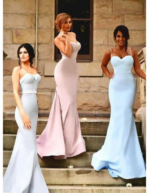Simple Pink Mermaid Spaghetti Straps Sweep Train Sash Pleats Bridesmaid Dress