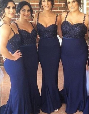 Elegant Navy Blue Spaghetti Straps Sweep Train Beading with Lace Bridesmaid Dress