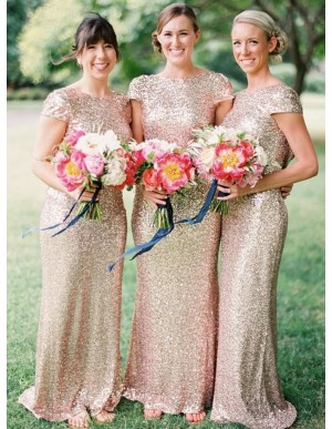 Chic Mermaid Cap Sleeves Sequins Long Gold Bridesmaid Dress