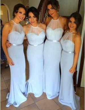 Simple Blue Mermaid Halter Sleeveless Floor-Length Backless Bridesmaid Dress