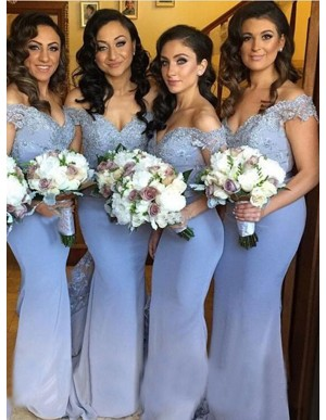 Elegant Blue Mermaid Off the Shoulder Open Back with Lace Bridesmaid Dress