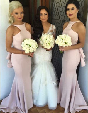 Simple Mermaid Bateau Sleeveless Sweep Train Backless Pink Bridesmaid Dress