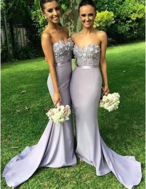 Glamorous Lavender Mermaid Sweetheart Sweep Train Flowers Appliques Bridesmaid Dress