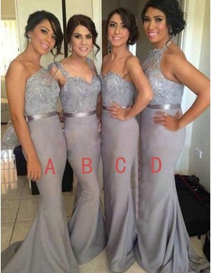 Dramatic Grey Mermaid One Shoulder Sweep Train Beading with Lace Bridesmaid Dress