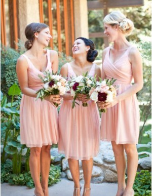 Simple Pink A-Line V-Neck Sleeveless Above-Knee Pleats Bridesmaid Dress