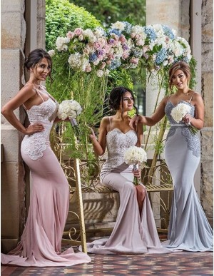 Mermaid Spaghetti Straps Split Sweep Train Bridesmaid Dress with Lace Beading
