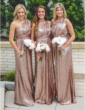 Sheath One Shoulder Sleeveless Floor Length Ruched Gold Bridesmaid Dress