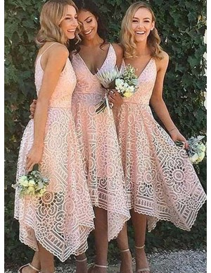A-Line V-Neck Asymmetrical Short Lace Bridesmaid Dress