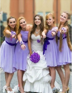 Chic Lavender One Shoulder Ruched with Sash Short Bridesmaid Dress