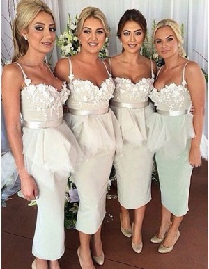 Charming Ivory Sweetheart Mermaid Tea-length with Sash Appliques Ruffles Bridesmaid Dress