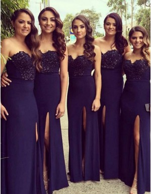 Adorable Navy Blue Sweetheart Floor Length with Beading Split Bridesmaid Dress