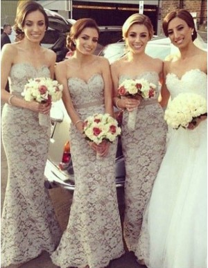 Nice Ivory Sweetheart Sweep Train with Sash Mermaid Lace Bridesmaid Dress