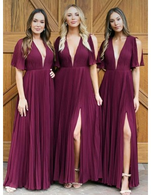 A-Line V-Neck Dark Red Pleated Chiffon Bridesmaid Dress with Split