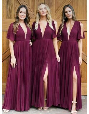 A-Line V-Neck Pleated Chiffon Burgundy Bridesmaid Dress with Split