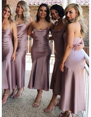 Mermaid Spaghetti Straps Sleeveless Blush Stretch Satin Simple Bridesmaid Dress