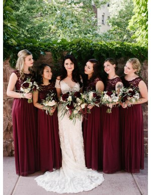 A-Line Round Neck Long Burgundy Chiffon Bridesmaid Dress with Lace