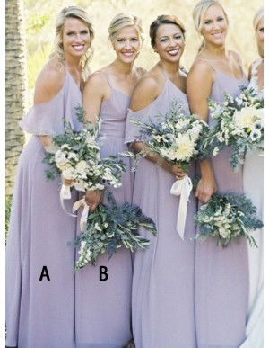 A-Line Halter Cold Shoulder Floor-Length Lilac Bridesmaid Dress
