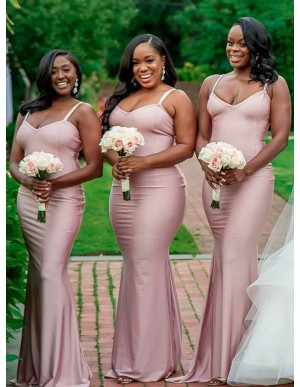Mermaid Spaghetti Straps Floor-Length Blush Bridesmaid Dress