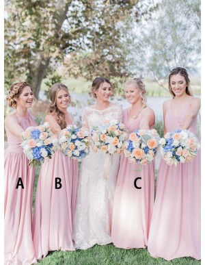 A-Line Mismatched Long Pearl Pink Bridesmaid Dress