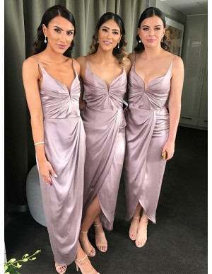 Sheath Spaghetti Straps Ankle-Length Lilac Bridesmaid Dress