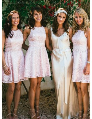 A-Line Round Neck Short Pearl Pink Lace Bridesmaid Dress