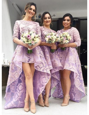 Chic Lilac Jewel 3/4 Sleeves High Low Organza with Appliqeus Bridesmaid Dress