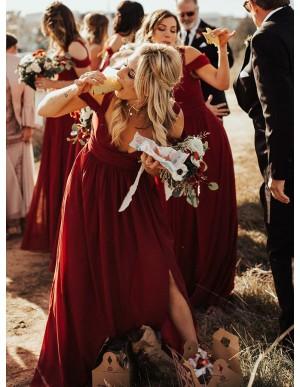 A-Line V-Neck Cold Shoulder Burgundy Bridesmaid Dress