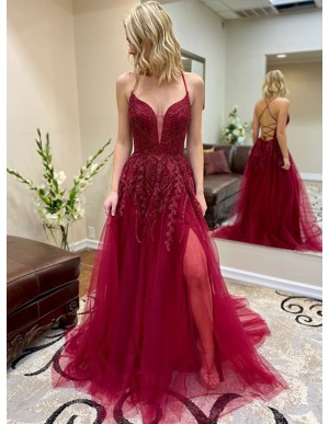 Fuchsia Spaghetti Straps Long Prom Dress with Appliques