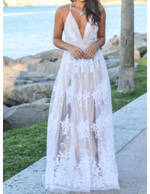 Glamorous White Spaghetti Straps Split Long Prom Dress with Appliques Lace