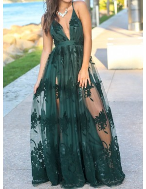 Glamorous Spaghetti Straps Long Dark Green Prom Dress with Appliques