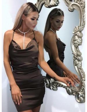 Sheath Spaghetti Straps Criss-Cross Straps Black Cocktaild Dress