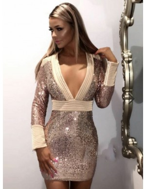 Sheath Deep V-Neck Long Sleeves Pink Sequined Cocktail Dress