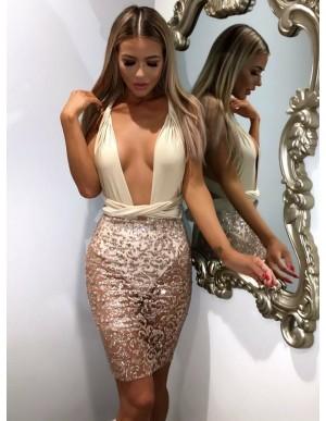 Sheath Deep V-Neck Multi-Way Short Lace Cocktail Dress