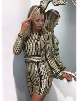 Sheath Round Neck Long Sleeves Gold Sequined Cocktail Dress