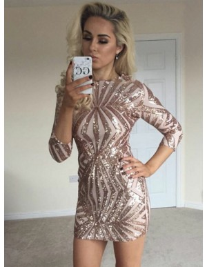 Sheath Bateau Long Sleeves Pink Sequined Cocktail Dress