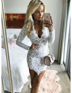 Sheath V-Neck Long Sleeves White Lace Cocktail Dress