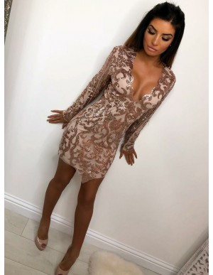 Sheath V-Neck Long Sleeves Champagne Sequined Cocktail Dress