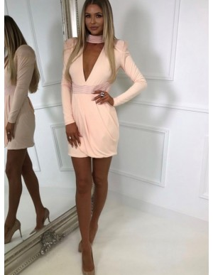Sheath High Neck Long Sleeves Pink Cocktail Dress