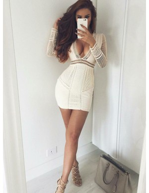 Sheath V-Neck Long Sleeves Ivory Cocktail Dress with Lace
