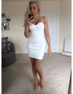 Sheath Spaghetti Straps Backless Short White Cocktail Dress