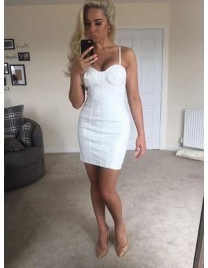 Sheath Spaghetti Straps Backless Short White Cocktail Dress
