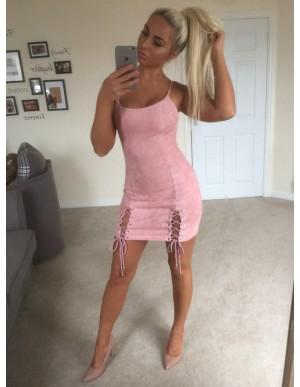 Sheath Round Neck Short Pink Suede Cocktail Dress
