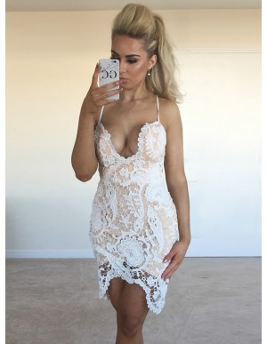 Sheath Spaghetti Straps White Lace Cocktai Dress