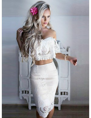 Two Piece Off-the-Shoulder Short Sleeves Cocktail Dress with Lace