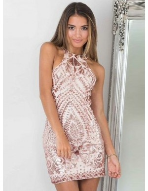 Sheath Jewel Short Champagne Sequined Cocktail Dress