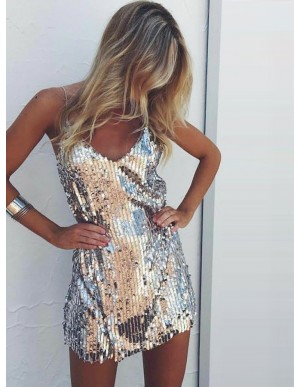 A-Line Spaghetti Straps Short Silver Sequined Prom Dress