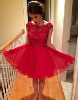 Chic Red Bateau Cap Sleeves Knee-Length Beading with Lace Homecoming Cocktail Dress