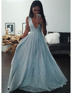 A-Line Deep V-Neck Blue Prom Dress with Appliques Beading Long Prom Gown