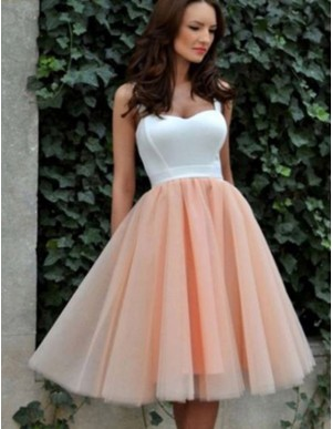 Chic Peach A-Line Straps Sleeveless Knee-Length Pleats Homecoming Dress